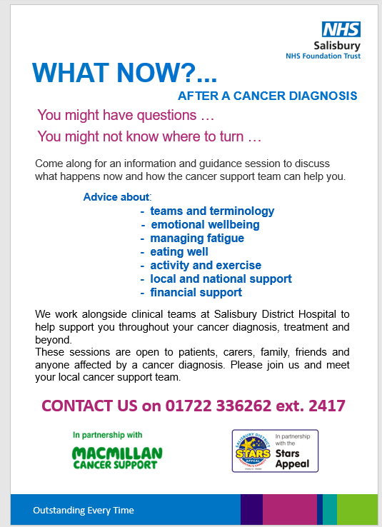 details of a new health and wellbeing event from the Living With and Beyond Cancer team at salisbury District Hospital. These sessions are open to anyone in the Wiltshire area affected by a cancer diagnosis; patients, carers, friends, family – a chance for people to meet the cancer support team. The next event will be Thursday 19th September 9.30am until 11.30 and from October onwards they will be held monthly on the last Friday each month (10am-12 midday)